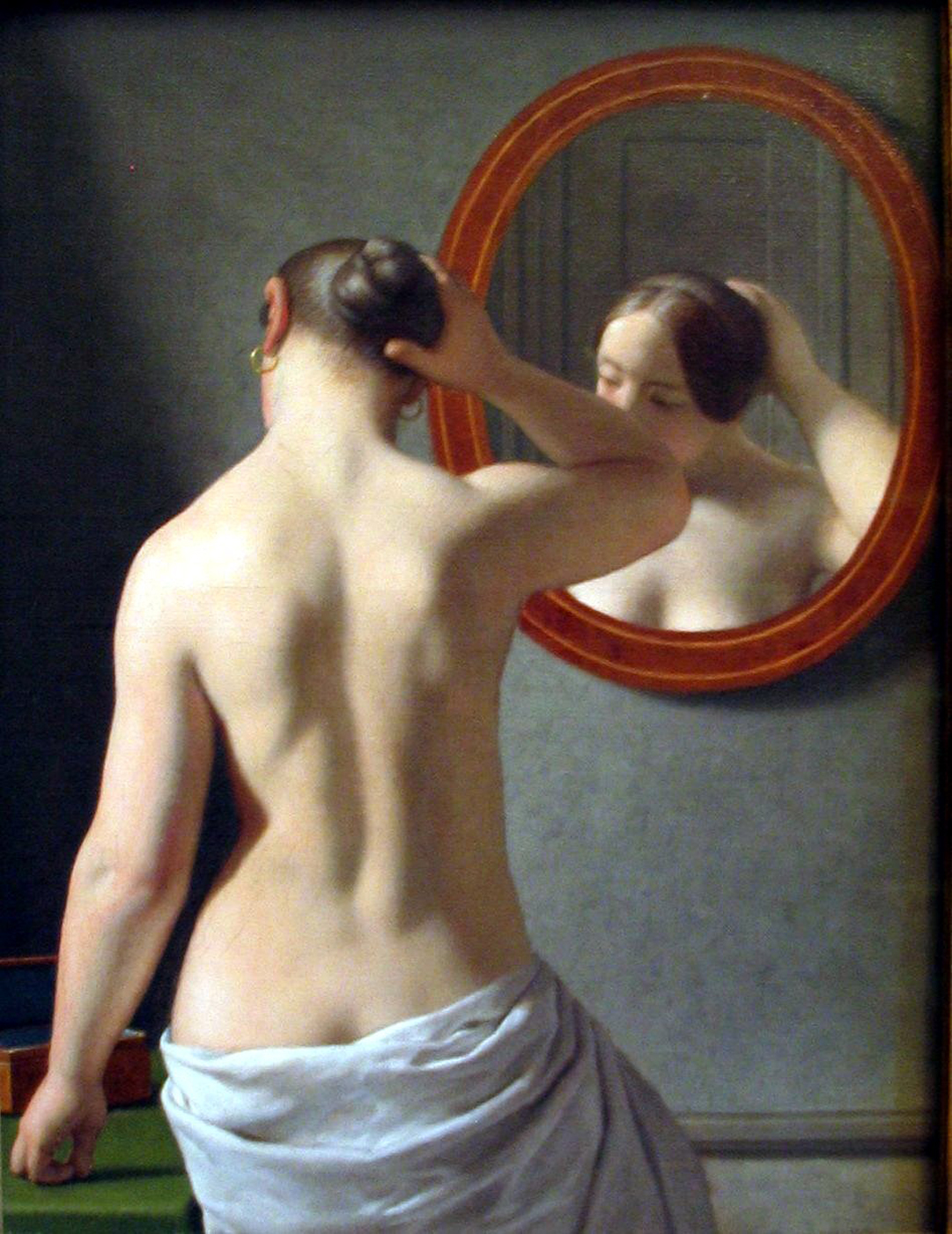 christoffer_wilhelm_eckersberg_3_woman_standing_in_front_of_a_mirror