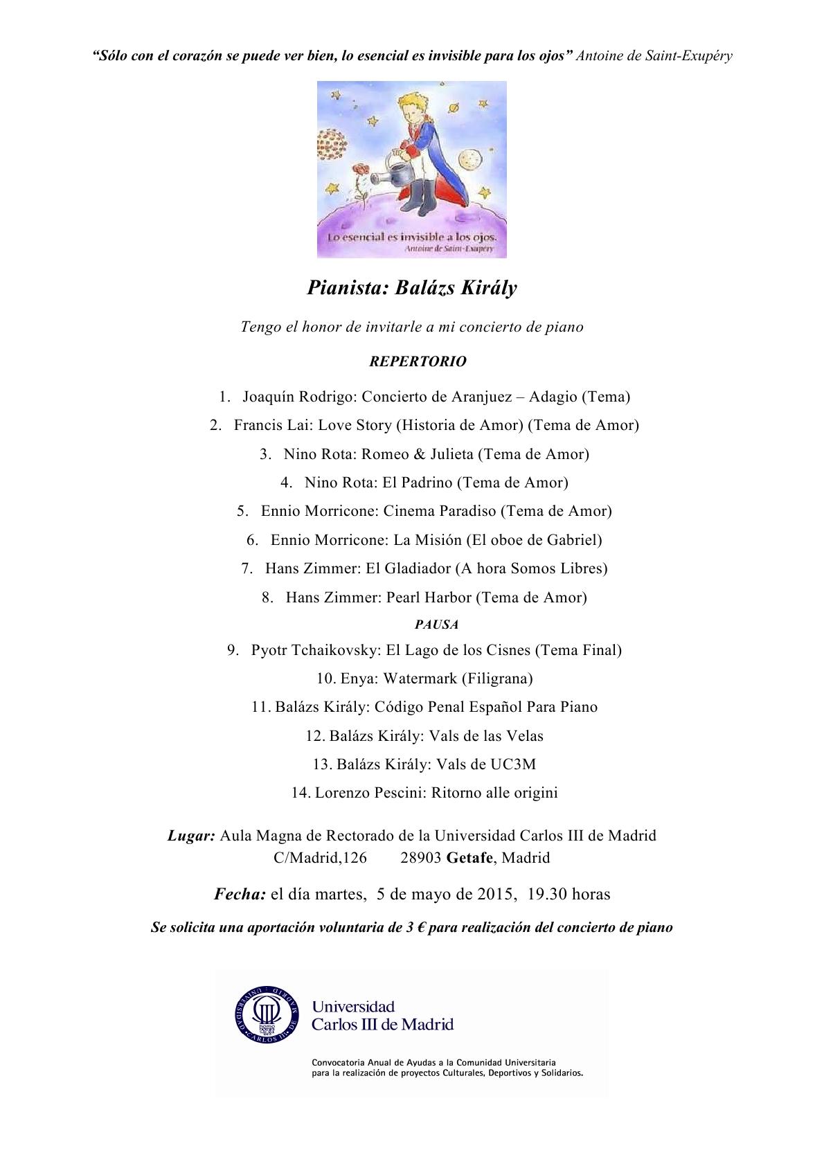 3  Balázs KirályInvitación - Concierto de piano en el Aula Magna de la UC3M