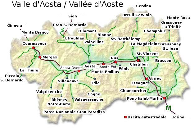 i posti più belli della valle d'aosta - cartina
