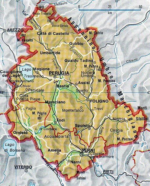 i 10 posti più belli dell'Umbria - Cartina Mappa